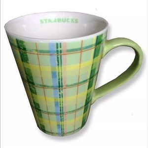 2006 Starbucks Coffee Mug Green Yellow Plaid 12 oz